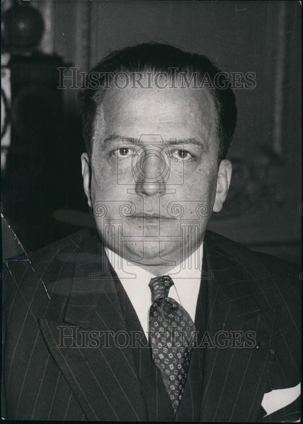 1956 Moroccan Minister Lacoste Portrait Wearing Striped Suit - Historic Images
