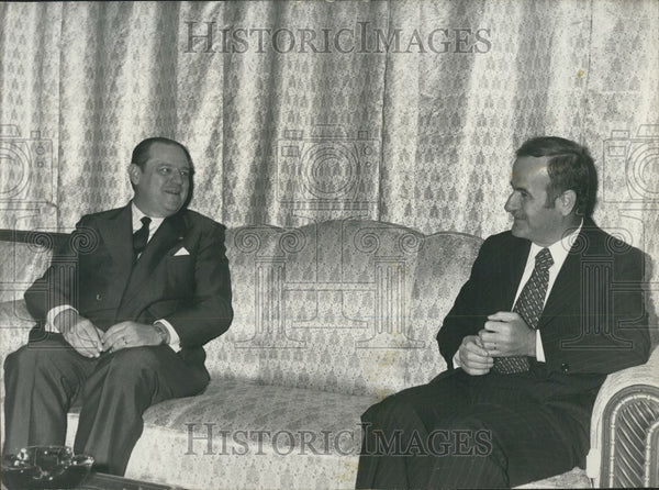 1977 Press Photo French Premier Raymond Barre & Syrian Pres Hafez Assad - Historic Images