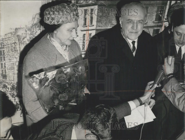 1965 Press Photo New USSR Ambassador to France Valerian Zorine and Wife in Paris - Historic Images