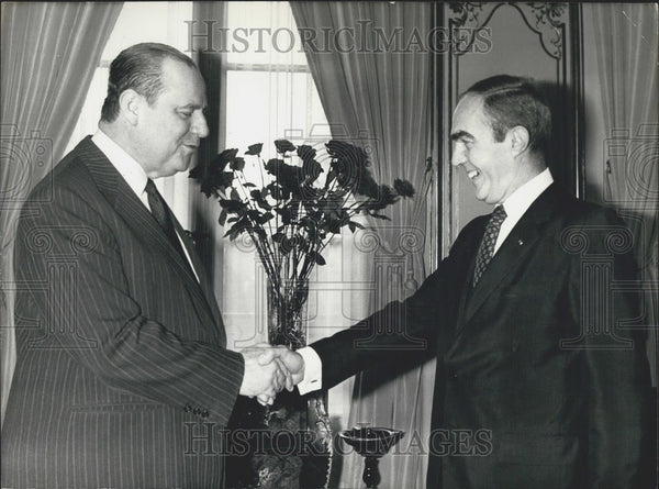 Press Photo Jean Matteoli and Prime Minister Raymond Barre - Historic Images