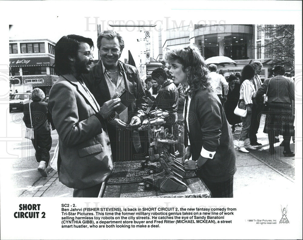 1988 Press Photo Film Short Circuit 2 Fisher Stevens Cynthia Gibb Shortcircuit2 Michael Mckean Historic Images