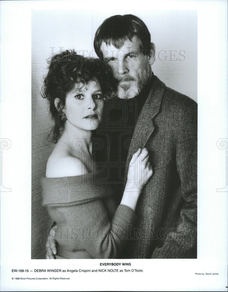 1990 Press Photo Debra Winger Actress Nick Nolte Actor Everybody Wins Film - Historic Images