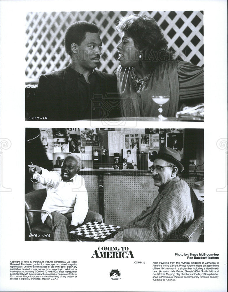 Eddie Murphy Arsenio Hall Clint Smith In Coming To America 1988 Vintage Promo Photo Print Historic Images