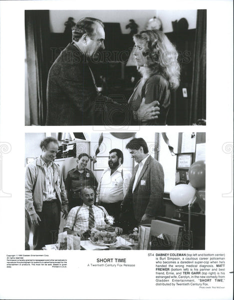 1990 Press Photo Dabney Coleman Actor Matt Frewer Teri Garr Actress Short Time - Historic Images