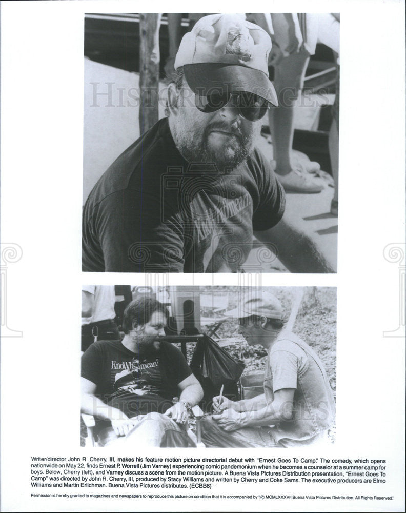 1987 Press Photo Ernest Goes to Camp director John Cherry Jim Varney - Historic Images