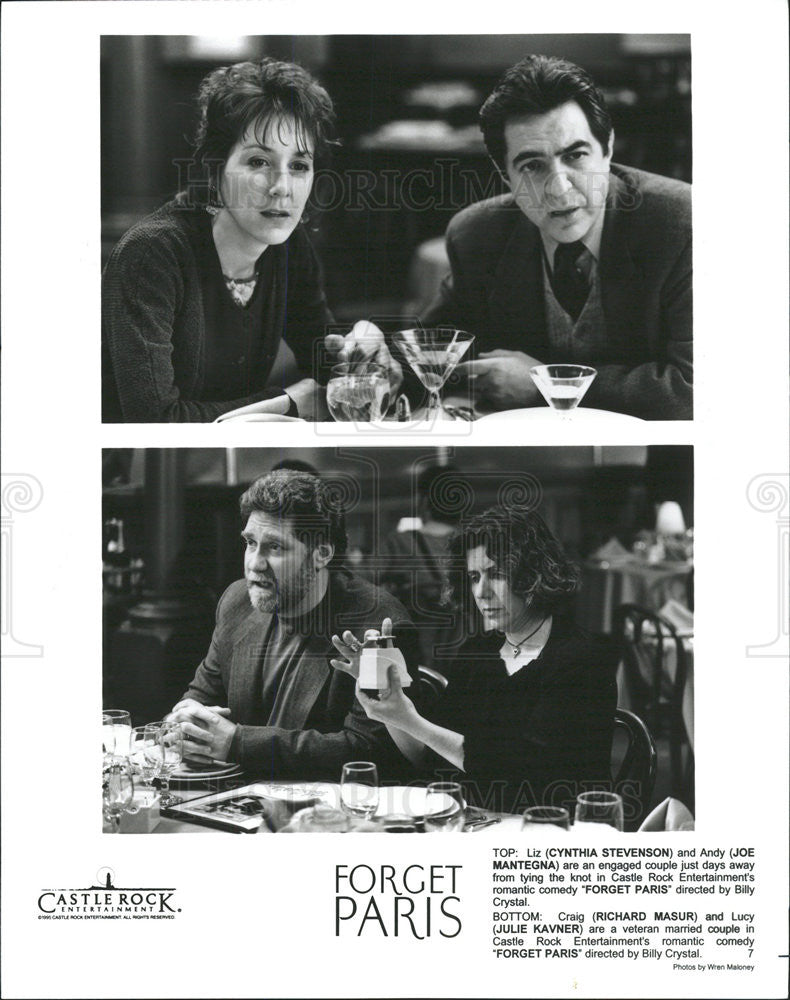 "1995 Press Photo Cynthia Stevenson, Joe Mantegna, Richard Masur ""Forget Paris"" - Historic Images"