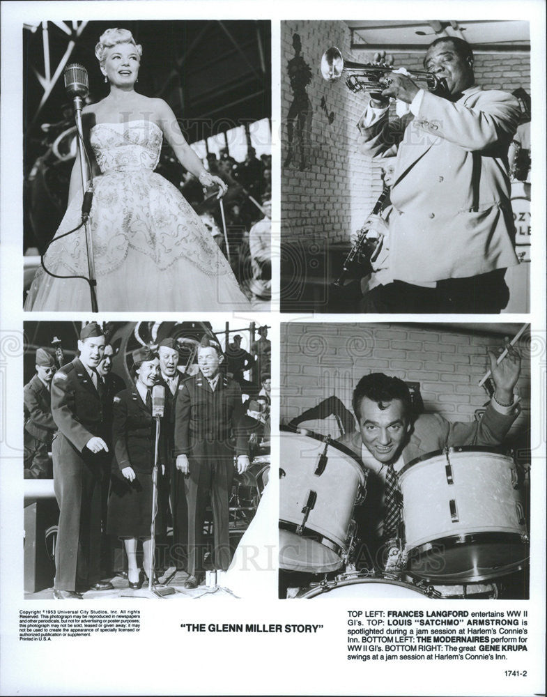 1953 Press Photo The Glenn Miller Story Frances Langford Louis Satchmo Armstrong - Historic Images