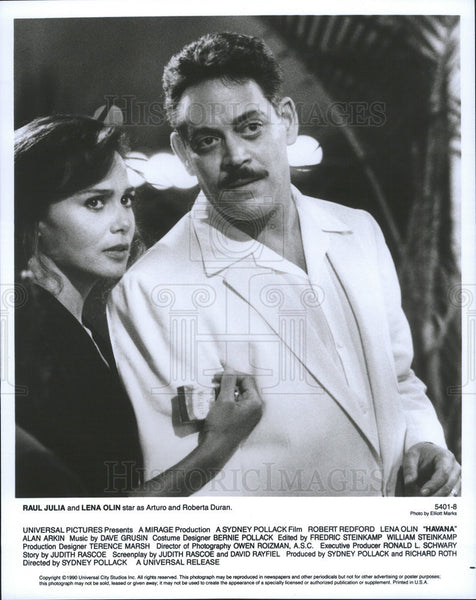 1990 Press Photo Raul Julia Actor Lena Olin Actress Film Movie Havana - Historic Images