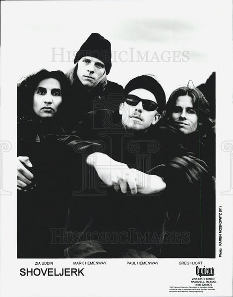 "Press Photo Zia Uddin, Mark Hemenway, Paul Hemenway, Greg Hjort, ""Shoveljerk"" - Historic Images"