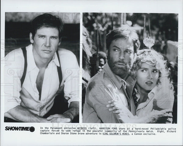 Press Photo Harrison Ford Actor Witness Richard Chamberlain Sharon Stone King - Historic Images