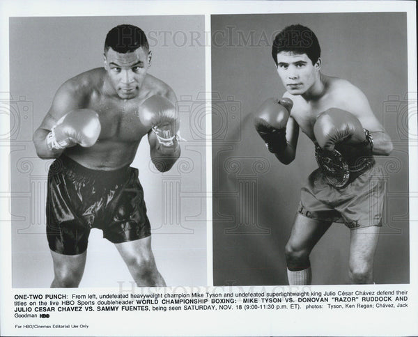 Press Photo Mike Tyson Julio Cesar Chavez Boxers - Historic Images