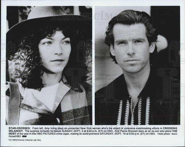 Press Photo Amy Irving in Crossing Delancy, Pierce Brosnan in Heist - Historic Images