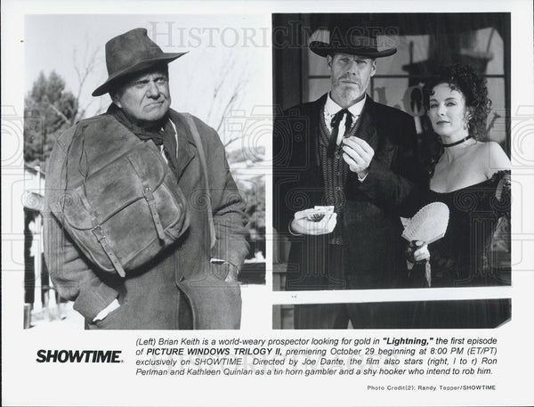 Press Photo Brian Keith Ron Perlman Kathleen Quinlan Actors Lightning Picture - Historic Images