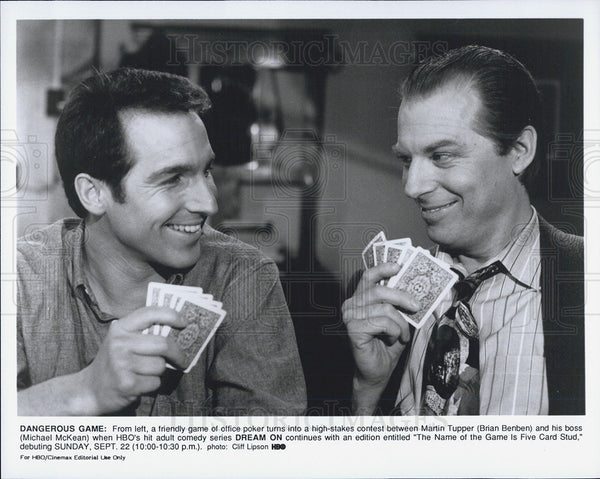 Press Photo Brian Benben Michael McKean HBO Adult Comedy Series Dream On - Historic Images