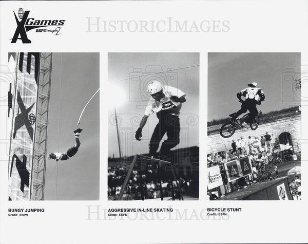 Press Photo Bungy Jumping, Aggressive In-Line Skating, Bicycle Stunt - Historic Images