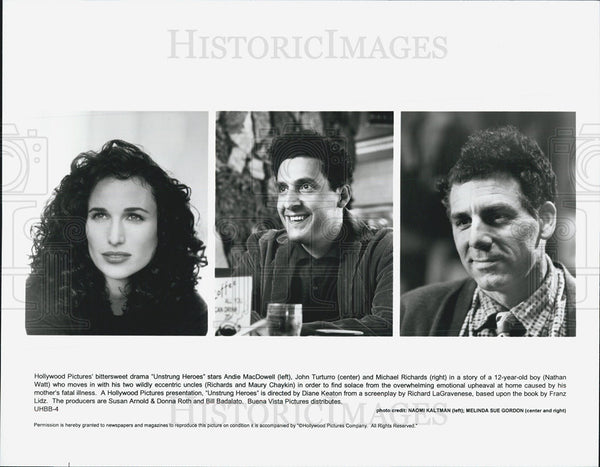 Press Photo Andie MacDowell, John Turturro, Michael Richards in Unstrung Heroes - Historic Images