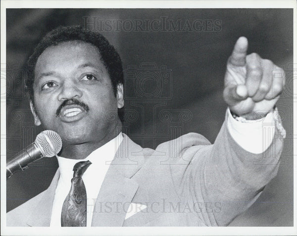 Press Photo Jesse Jackson visits Madison Park High School Boston - Historic Images