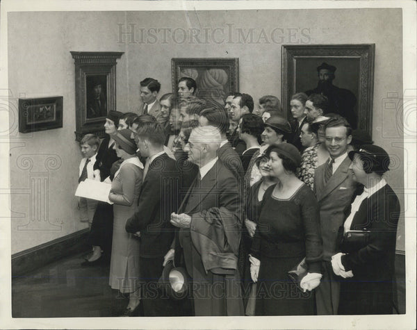 1933 Press Photo Crowds Art Institute World's Fair - Historic Images