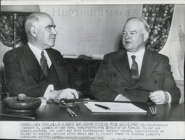 1942 Press Photo Lehman & Former President hoover Discuss Food Administration - Historic Images