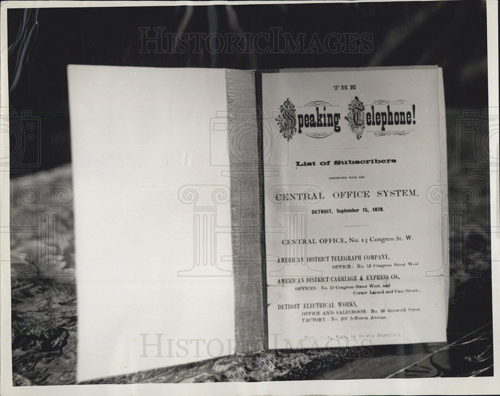 1930 Press Photo Copy of title page of Detroit Mich first ever phone directory - Historic Images