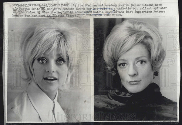1970 Press Photo Actress Maggie Smith and Goldie Hawn - Historic Images