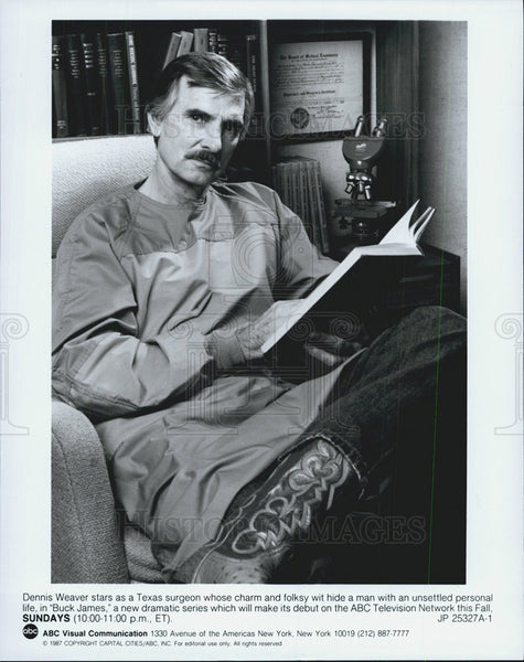 1987 Press Photo Dennis Weaver, Buck James - Historic Images