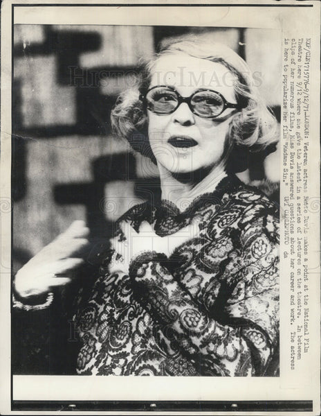 1971 Press Photo Bette Davis Actress National Film Theater Lectures London - Historic Images