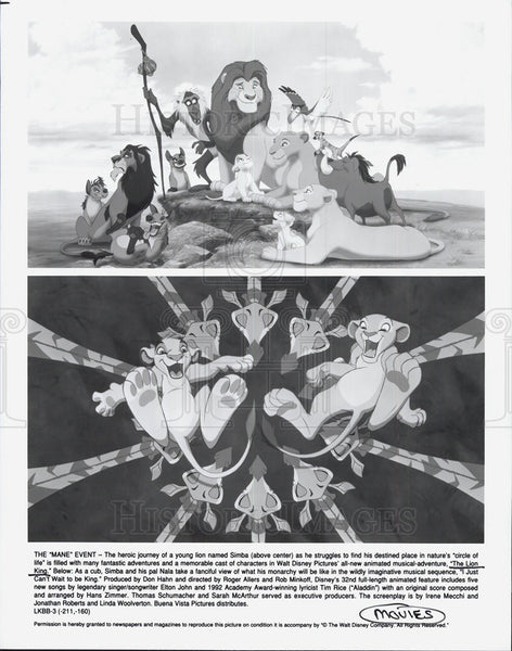 Press Photo THE LION KING Animation - Historic Images