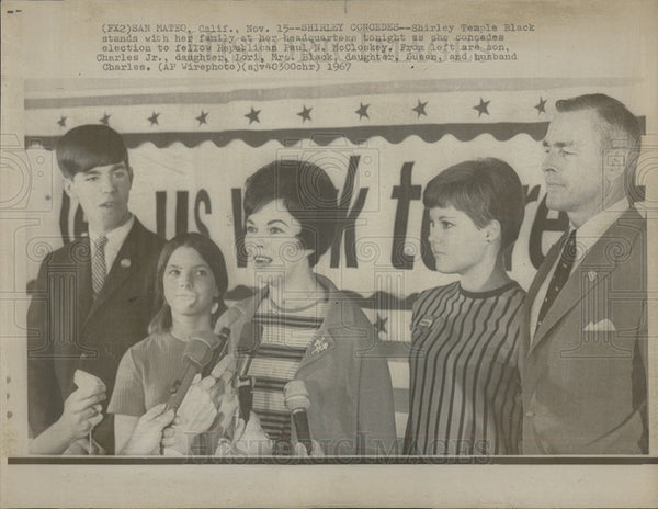 1967 Press Photo Shirley Temple Concedes Election to Paul McCloskey - Historic Images