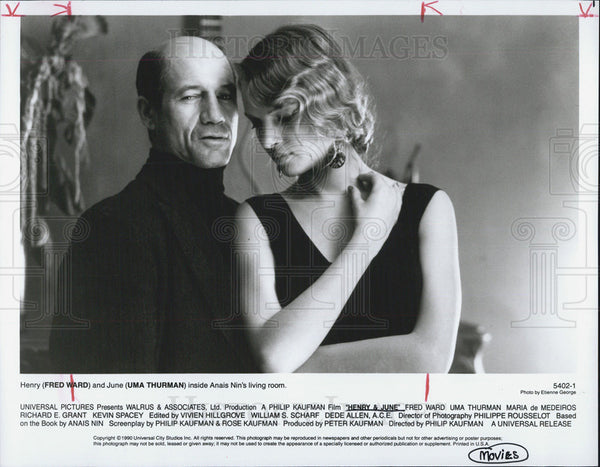 1990 Press Photo Actor Fred Ward and Actress Uma Thurman - Historic Images