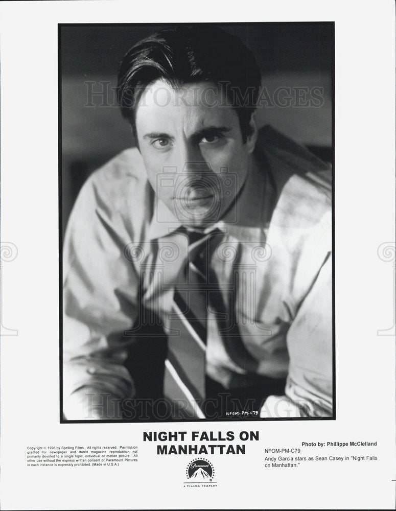 1996 Press Photo Andy Garcia Actor  Night Falls Manhattan Drama Movie Film - Historic Images