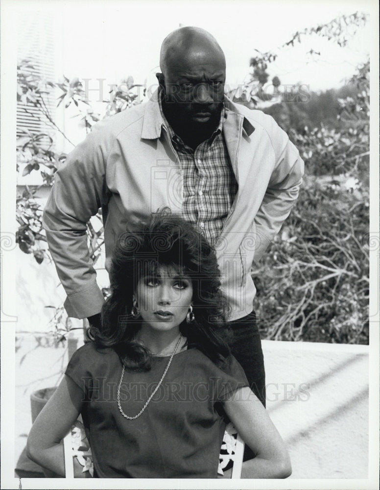 1986 Press Photo Stepfanie Kramer Isaac Hayes Hunter Police Drama TV Series - Historic Images
