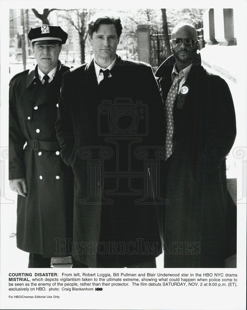 "1996 Press Photo Robert Loggia, Bill Pullman, and Blair Underwood In ""Mistrial"" - Historic Images"
