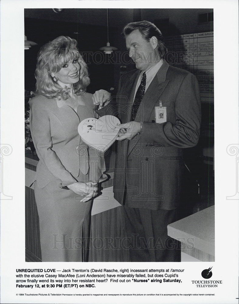 1994 Press Photo Nurses castmates Loni Anderson, David Rasche - Historic Images