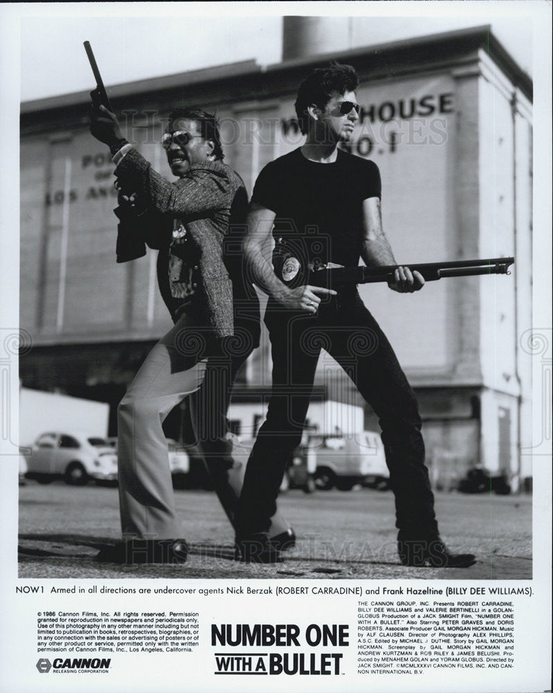 1986 Press Photo Robert Carradine & Billy Dee Williams Number One With A Bullet - Historic Images