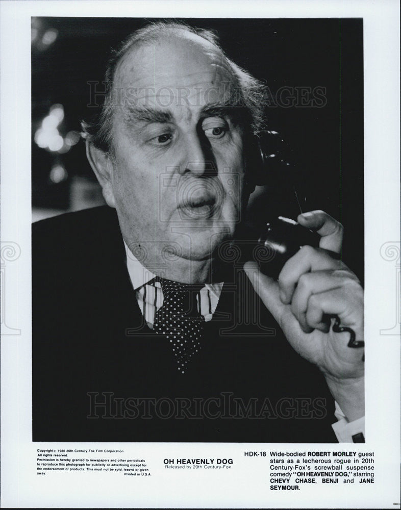 "1980 Press Photo Robert Morley in ""Oh Heavenly Dog"" - Historic Images"