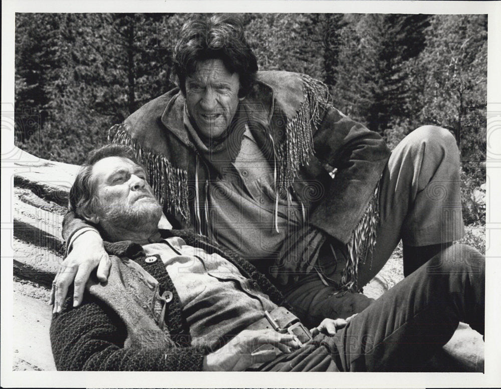 1987 Press Photo Earl Holliman & James Arness Star In Gunsmoke: Return To  Dodge