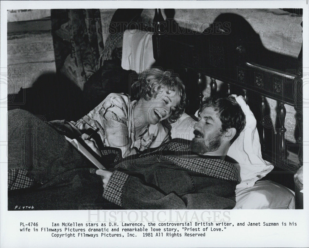 "1981 Press Photo  Ian McKellen and Janet Suzman star in ""Priest of Love"" - Historic Images"