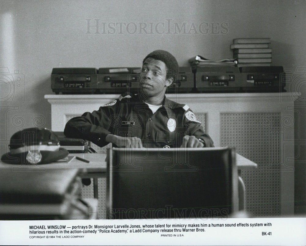 1984 Press Photo Michael Winslow Police Academy - Historic Images