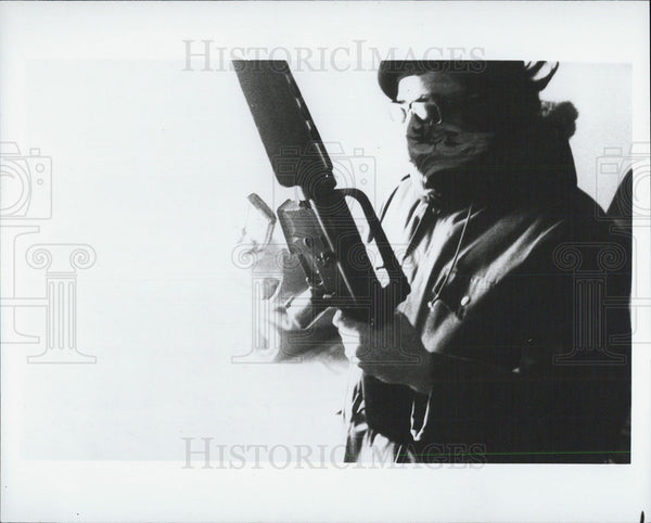 Press Photo Revolutionary or Terrorist with Gun - Historic Images