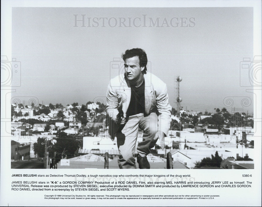 1989 Press Photo James Belushi K-9 Thomas Dooley Universal City Studios