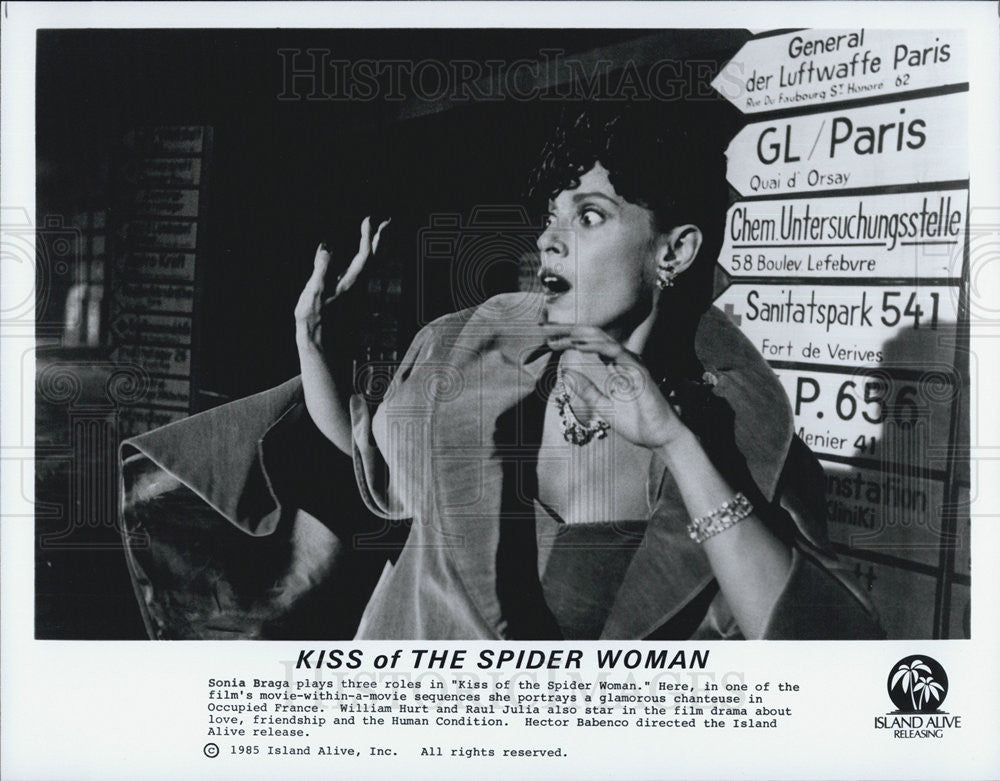 "1985 Press Photo Sonia Braga in ""Kiss of The Spider WOman"" - Historic Images"