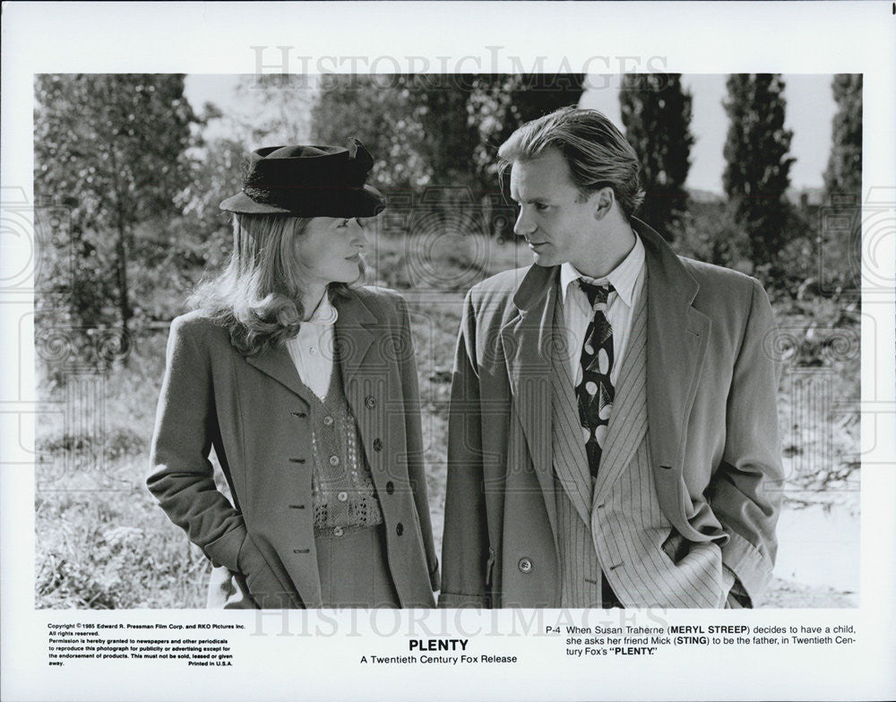 1985 Press Photo Meryl Streep,actress and Sting,singer in Plenty - Historic Images