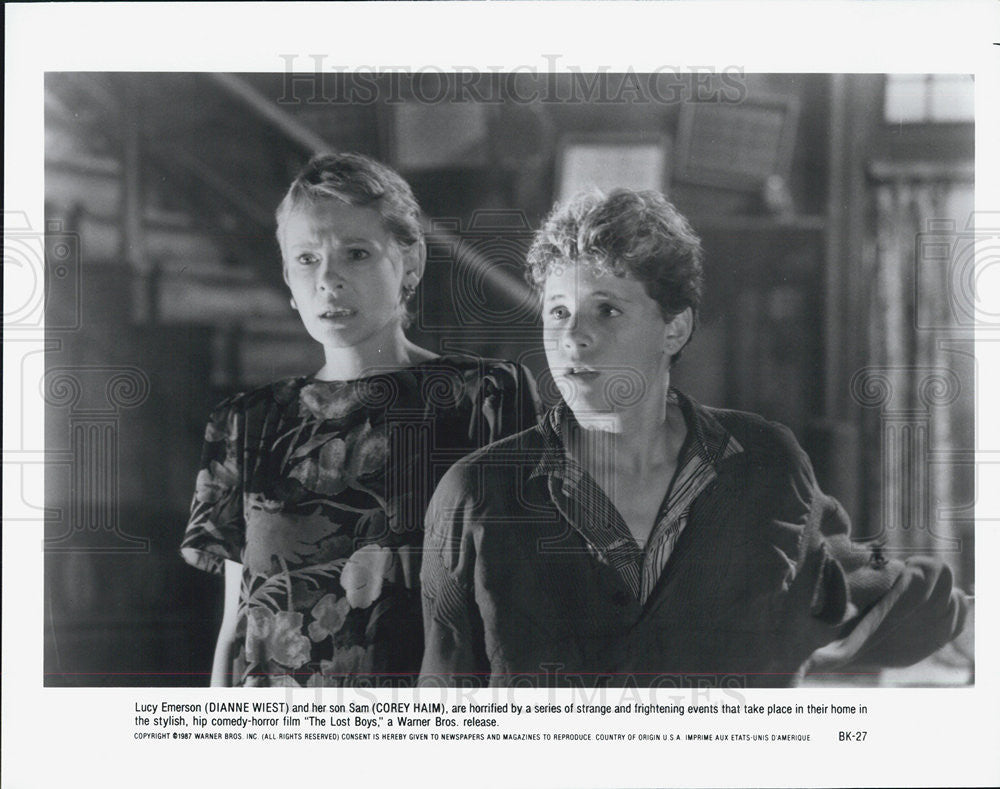 Press Photo Dianne West and Corey Haim in The Lost Boys - Historic Images