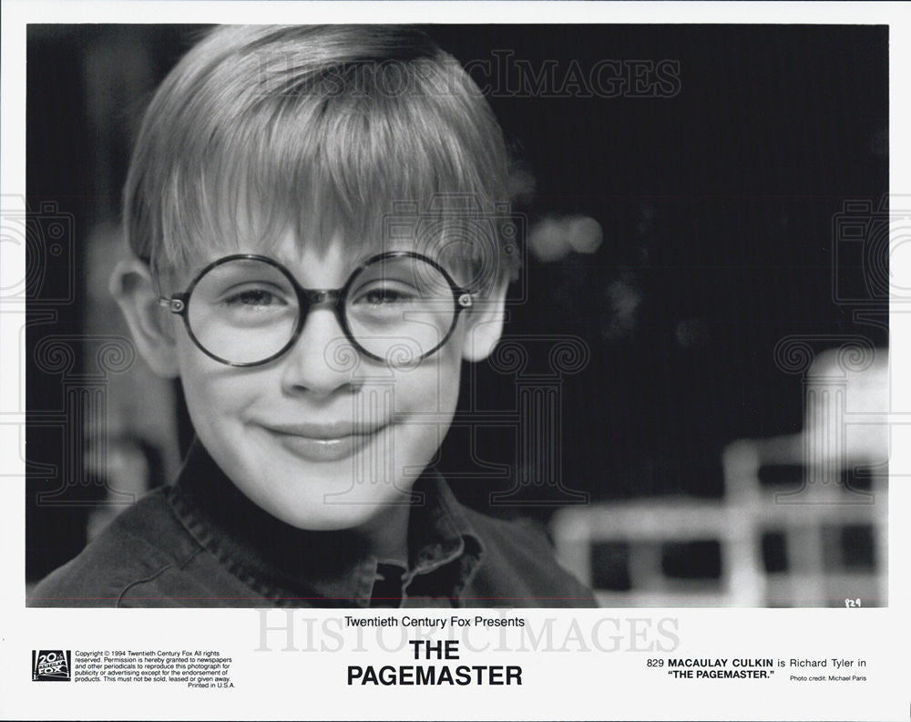 "1994 Press Photo Macaulay Culkin in ""The Pagemaster"" - Historic Images"