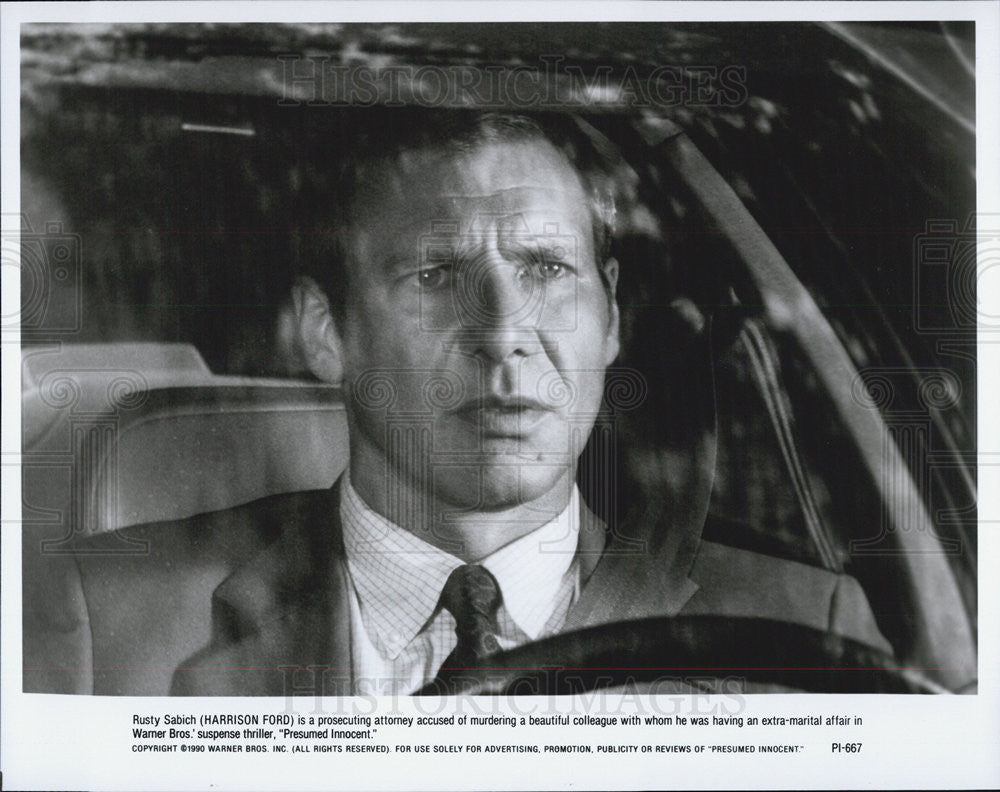 "1990 Press Photo Harrison Ford in ""Presumed Innocent"" - Historic Images"