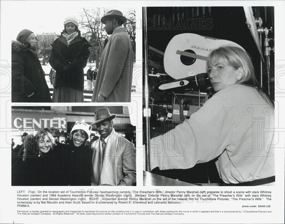 "1996 Press Photo Director Penny Marshall on set ""The Preacher's Wife"" - Historic Images"