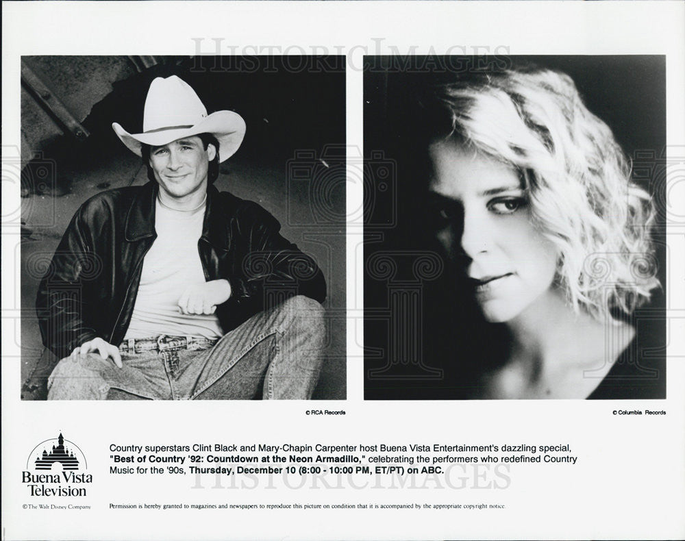 Press Photo Clint Black and Mary Chapin Carpenter in Best Of Country 92 - Historic Images