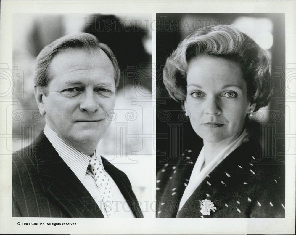 1991 Press Photo George Grizzard Pamela Reed Caroline Television Actors - Historic Images