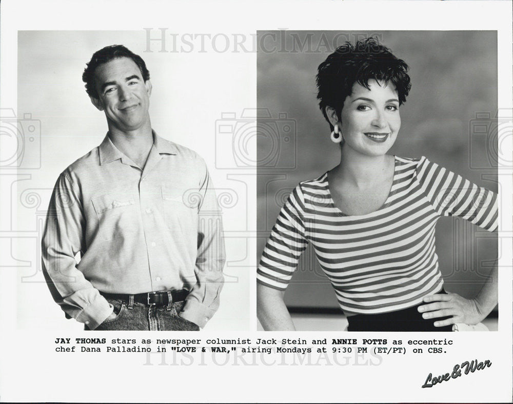 Press Photo Jay Thomas Actor Annie Potts Actress Love War Comedy Television Show - Historic Images
